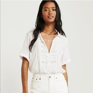 A&F Short Sleeve Tie Front Top